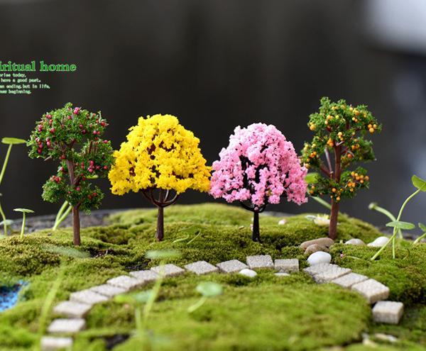 6 pz mini albero di mele alberi di ciliegio muschio decorativo Micro paesaggio fairy garden miniature DIY Home Decor