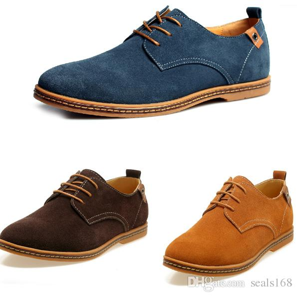 Men Suede Leather Shoes Oxfords Dress Formal Lace Up Casual Flats Loafers US 13