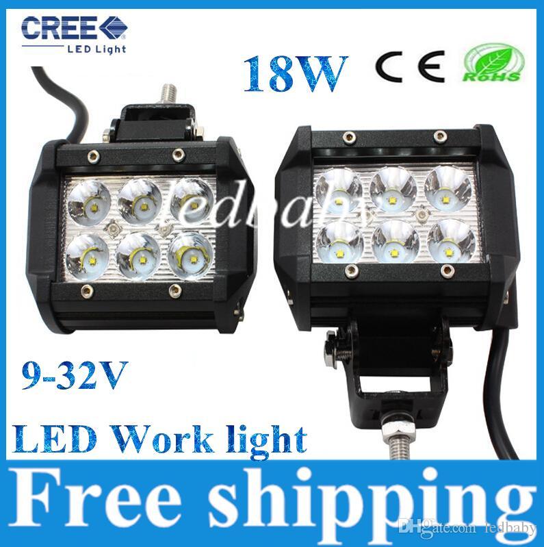 """4 """"인치 18W 크리 어 LED 작업 라이트 바 램프 오토바이 트랙터 보트에서 도로 4WD 4x4 트럭 SUV ATV 스팟 홍수 12V"""