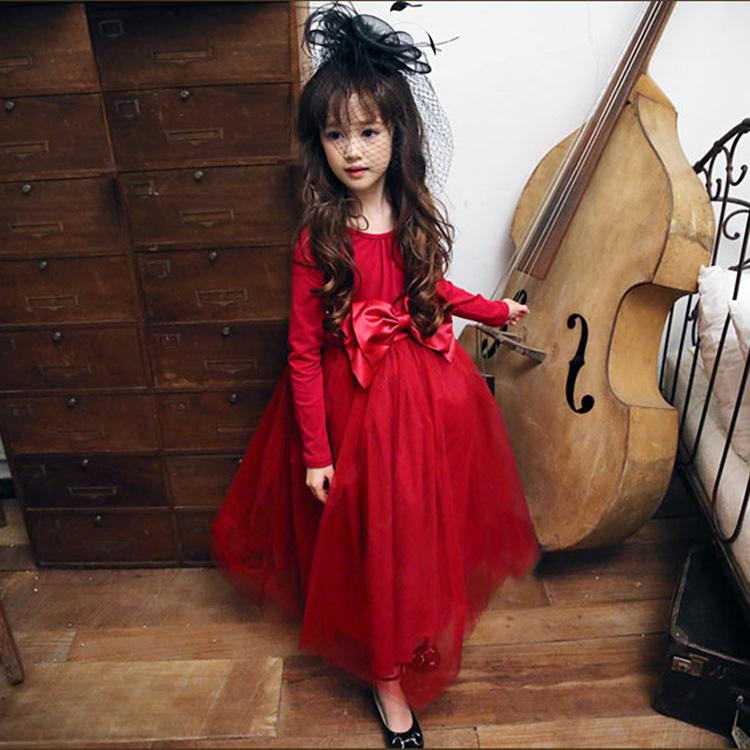 2018 Baby Girls Tutu Dress Kids Red Ball Gown Long Sleeve Party