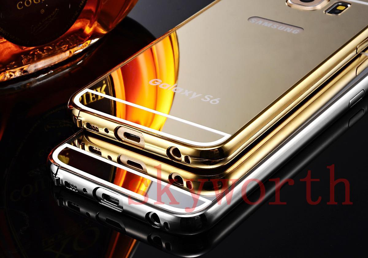 the best attitude 39324 1b779 Gold Plated Mirror Aluminum Metal Hybrid Bumper + Back Cover Case For  Sumsang GALAXY S6 Edge Iphone 6 4.7 Plus 5.5 Hard Cell Phone Cases Jeweled  Cell ...