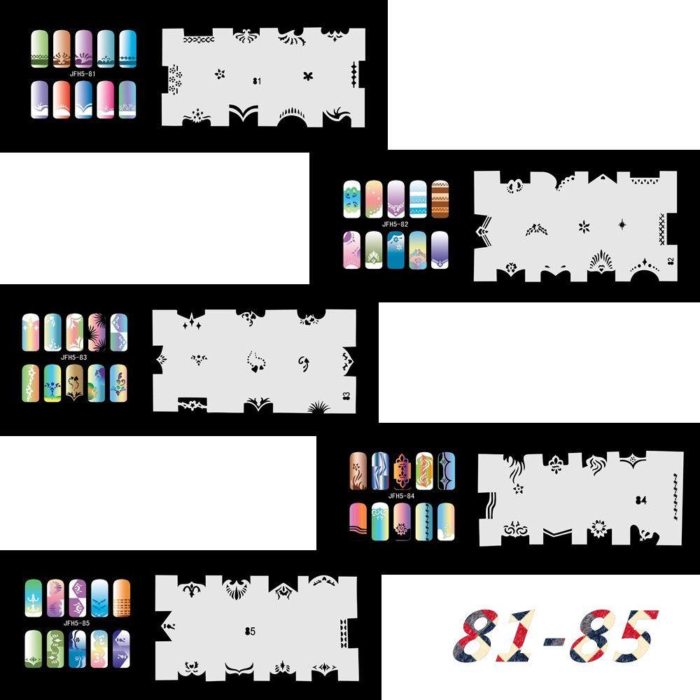 Новая Мода Набор Аэрографа Трафареты Для Ногтей 81-100 Инструменты Diy Аэрография 20 х Шаблон Лист для Аэрографа Набор Nail Art Paint