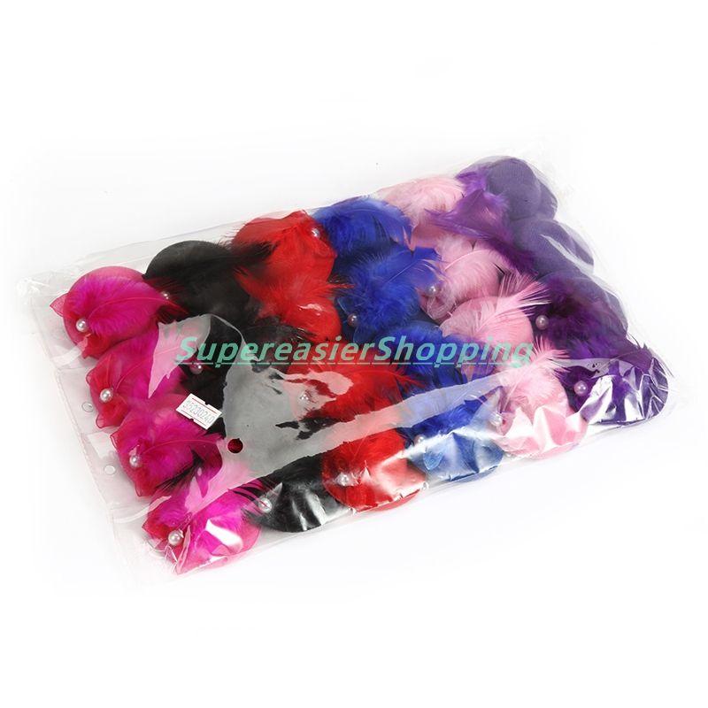 24pcs//lot 6cm Mini Hat Fascinator Headpieces Hair Clip Rose Feather Hair Decor