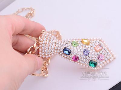 pearl diamond pendant (7.6*3.5cm) chain lady's necklace (54+extra 8 cm)(woniu152)
