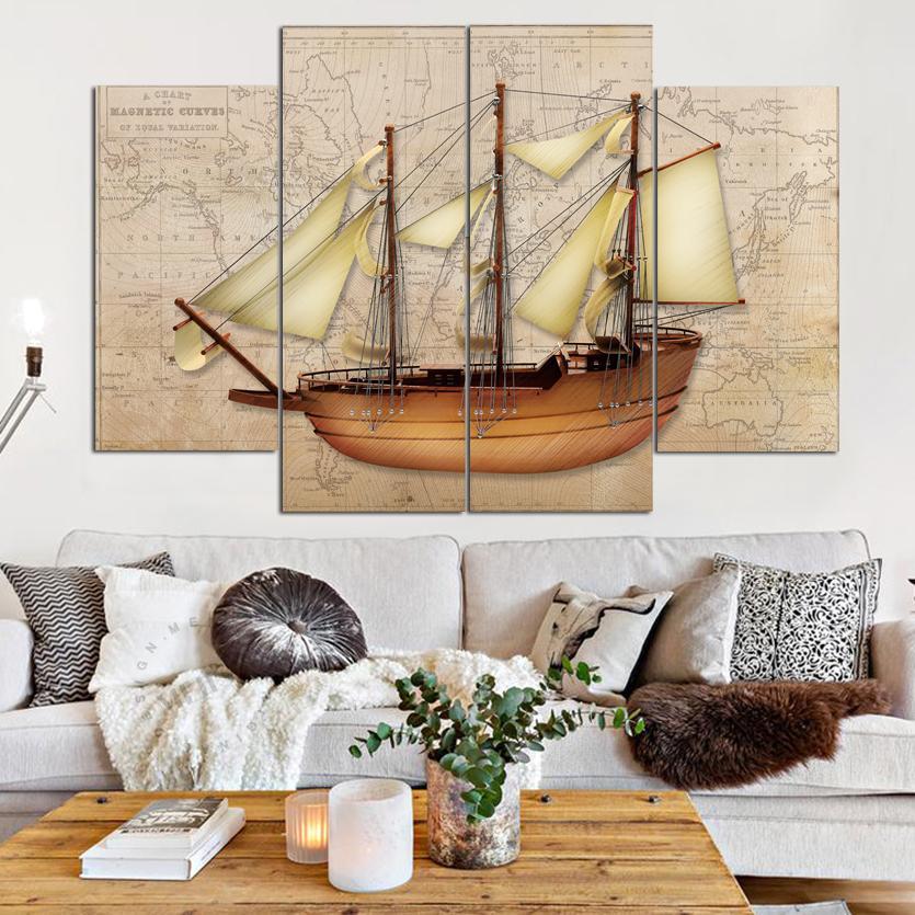 Schöne Segelschiffe und Karte der Welt Rahmenlose Gemälde 4 Stück (No Frame) Printd auf Leinwand Kunst Modern Home
