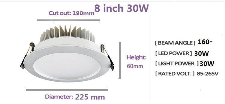 Ultra Bright 30W 2500 Lumens Led Downlights 8 Inch High Power Led Recessed Fixture Ceiling Lighting 160 Angle Warm/Cool White AC 85-265V
