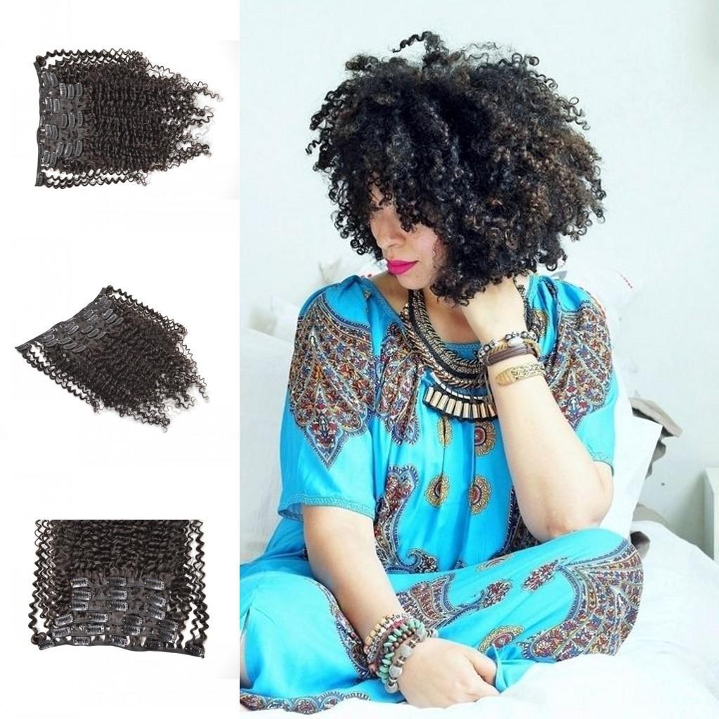 Красивые афро кудрявые кудрявые девственные камбоджийские зажимы для волос Ins 7pcs / set черный клип в наращивании волос настоящие человеческие волосы 120 г / комплект G-EASY