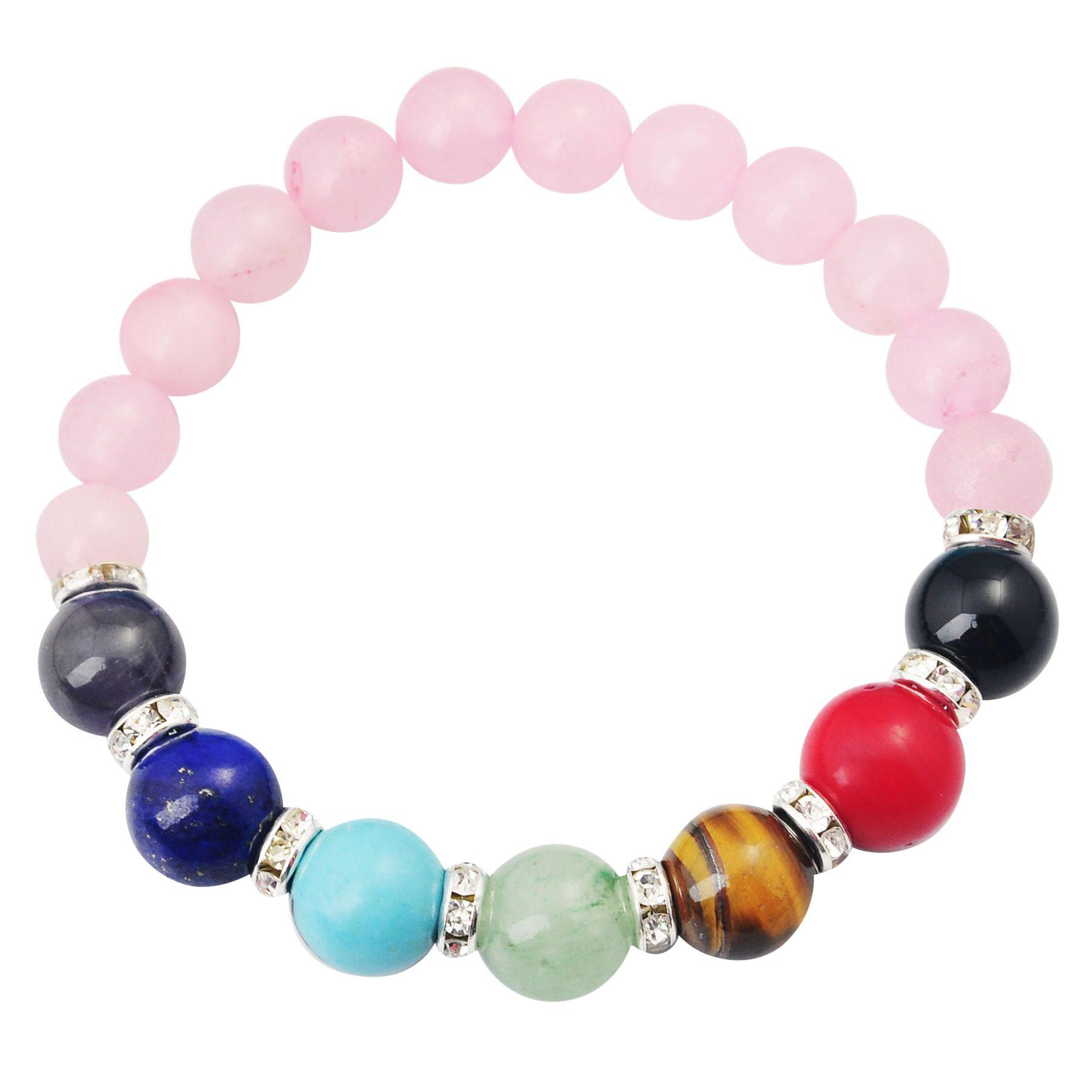 Joya Gift 14SB1037-8MM Natural Rose Quartz Beads bracelet 7 Chakra Gemstone Crystal Healing Reiki women jewelry bangle Free Shipping