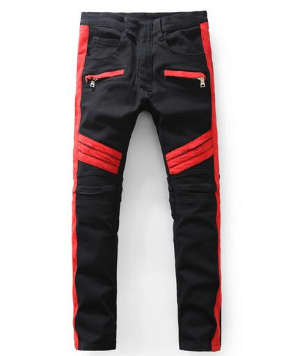 2016 Man Balmain Jeans New Red Black Washed Slim Fit Motorcycle ...