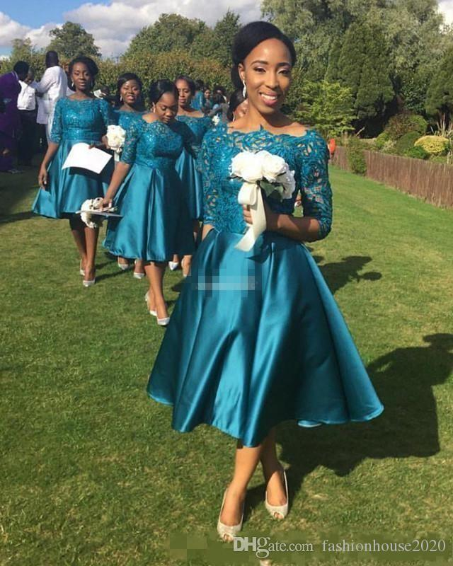 Kısa Nedime Elbiseler 2017 Ucuz Düğünler için Konuk Elbise Teal Saten Dantel Yarım Kollu Çay Boyu Artı Boyutu Örgün Hizmetçi Onur Törenlerinde
