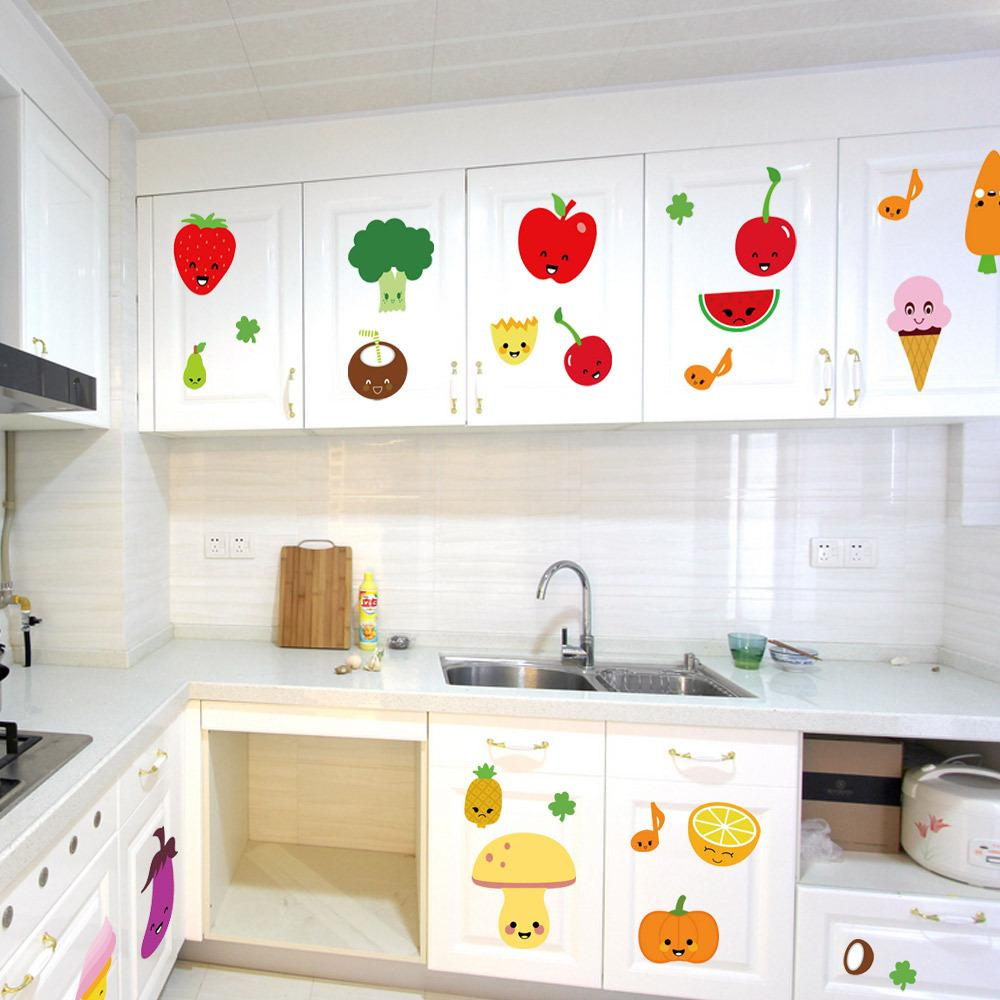 Cute Cartoon Fruits Wall Art Mural Decor Kitchen Decoration Sticker Pvc Removable Waterproof Colorful Poster From Magicforwall 1 88 Dhgate Com