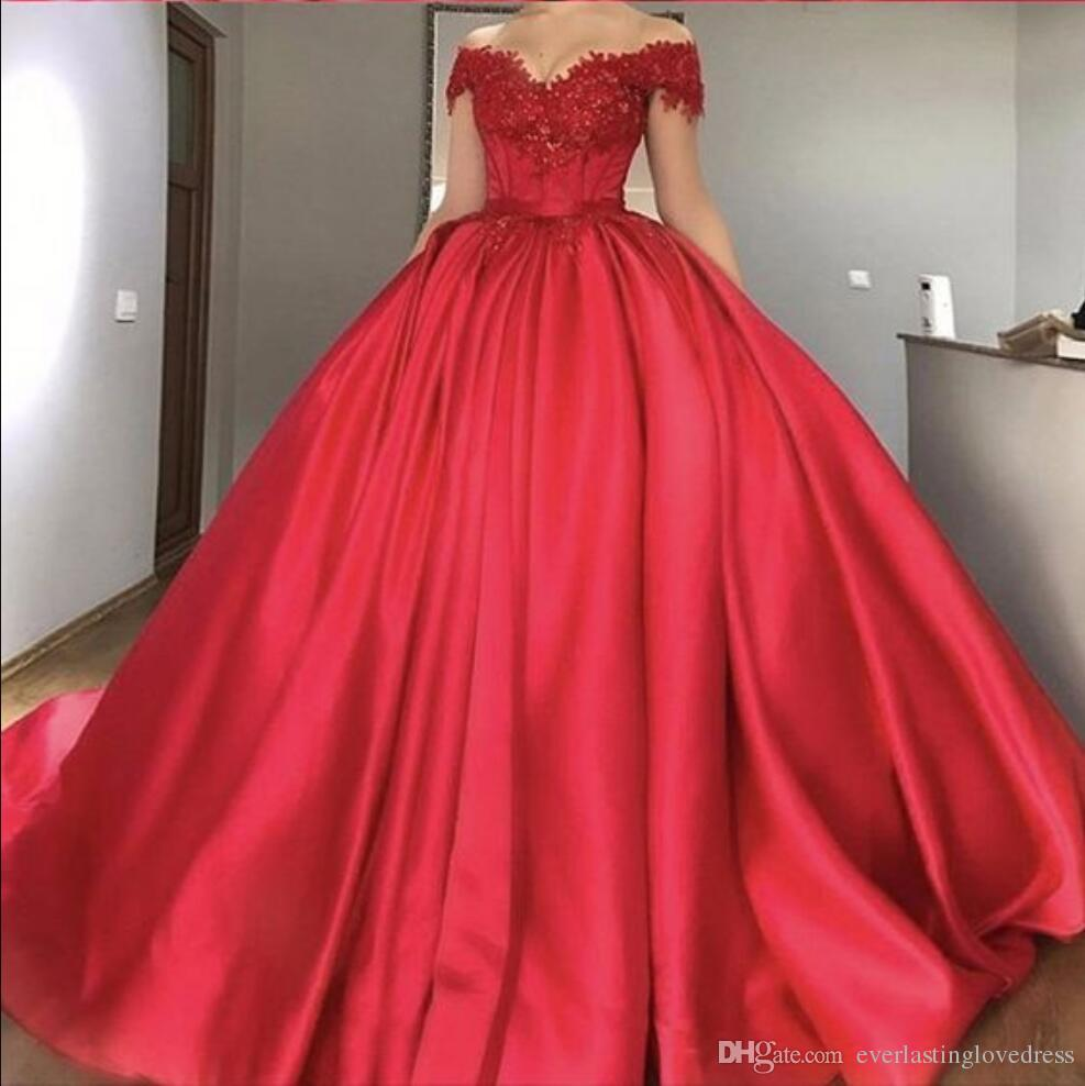Plus Size Ball Gown Prom Dresses Off The Shoulder Lace Appliques Satin Red  Sparkly Evening Gowns Formal Dresses Junior Prom Dress Junior Prom Dresses  ...