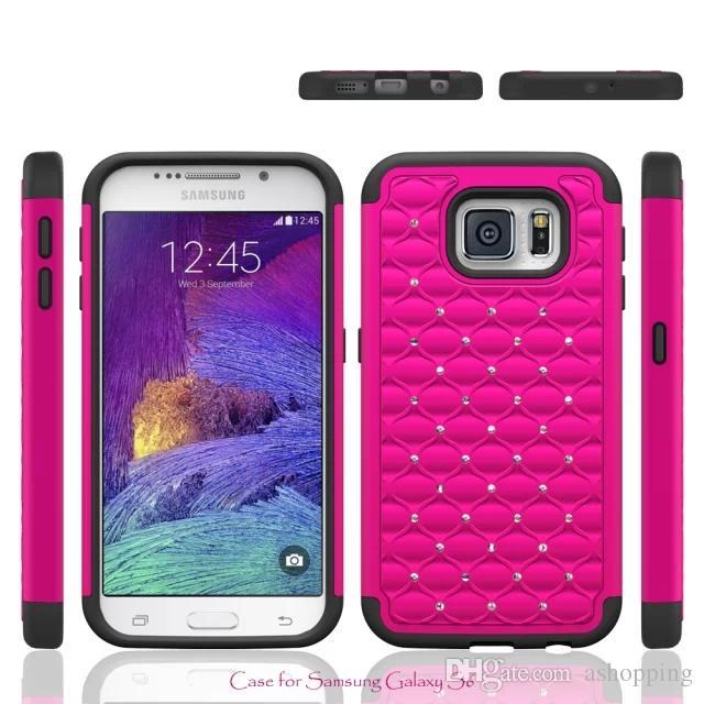 Bling Diamant En Plastique Silicone Retour 2in1 Hybride Étui Coque Rigide Pour IPhone 4s 5s 6 Plus I6 Samsung Galaxy S4 S5 S6 Proposé Par Ashopping, ...