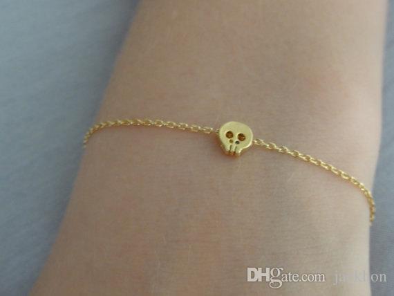10PCS- B043 Tiny Sugar Skull Bracelet Cute Skeleton Bracelet Simple Animal Skull Face Head Bracelets for women