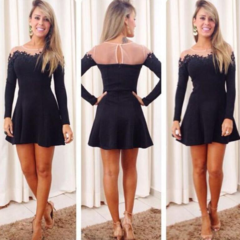 Black Sheer 2016 Homecoming Dresses Lace Applique A Line Crew Neck ...