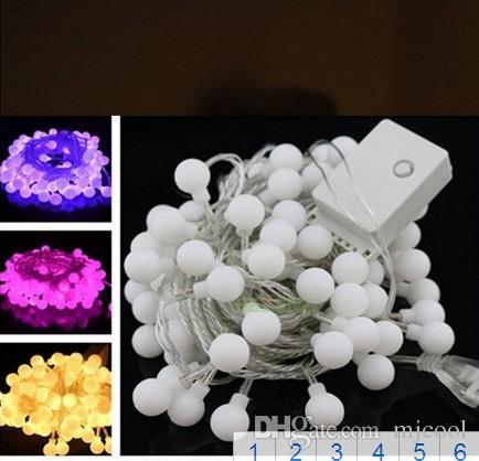 크리스마스 Xmas LED 램프 50 Led 5 M 멀티 컬러 스트립 RGB 공을 주도 문자열 조명 플래시 창 커튼 가벼운 휴가 주도 빛
