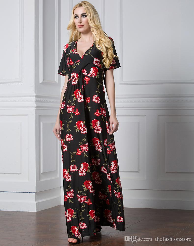 Fabrika Fiyat Kadınlar Kısa Kollu Yaz Maxi Elbise L-7XL Artı Boyutu Kadınlar Çiçek Baskı Plaj Kıyafeti