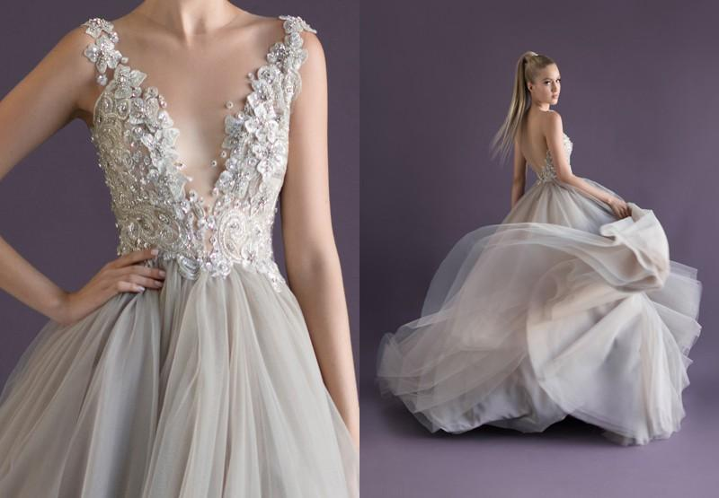 Prom Dresses Princess V Neck Spaghetti Straps A Line Floor Length Backless Appliques Beading Gray Tulle Prom Gowns Paolo Sebastian
