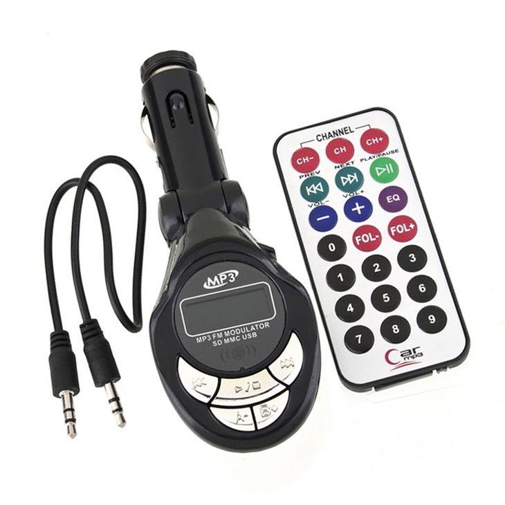 LCD Car Kit MP3Player FM Transmitter Aux-in SD//MMC//USB Modulator RemoteControl n