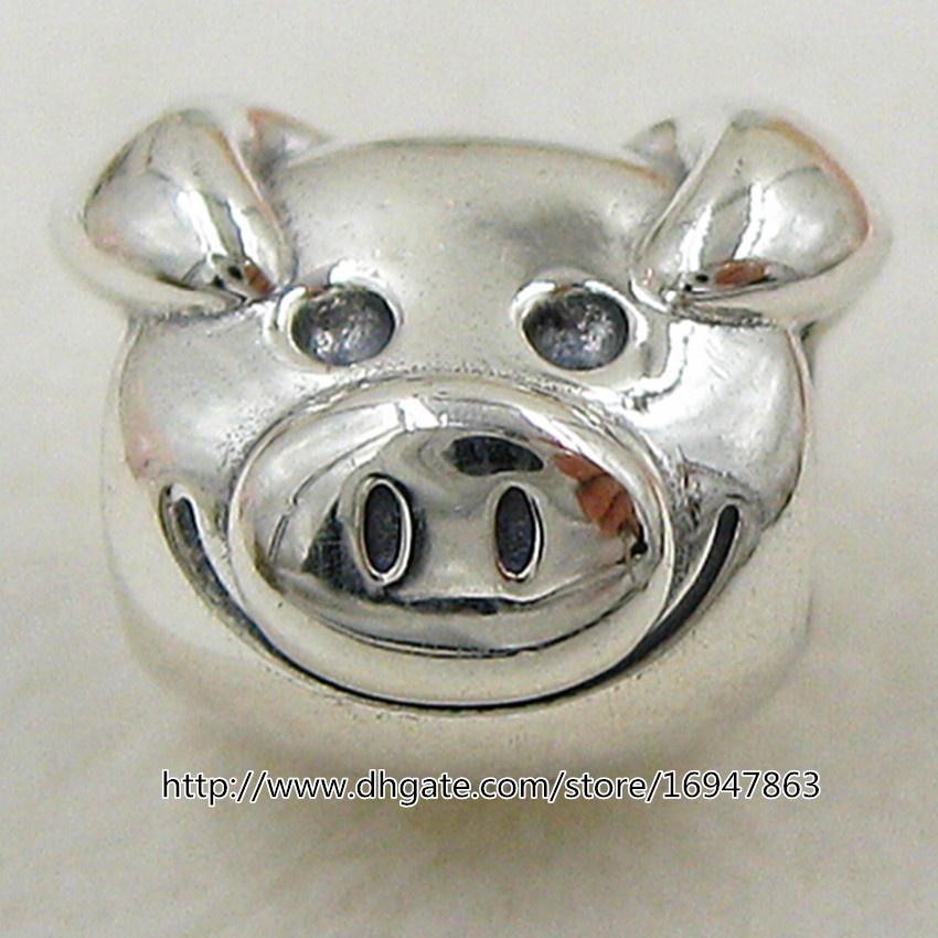 새로운 장난 꾸러기 돼지의 매력 S925 스털링 실버 참 구슬 유럽의 판도라 보석 팔찌 목걸이 펜던트 맞는