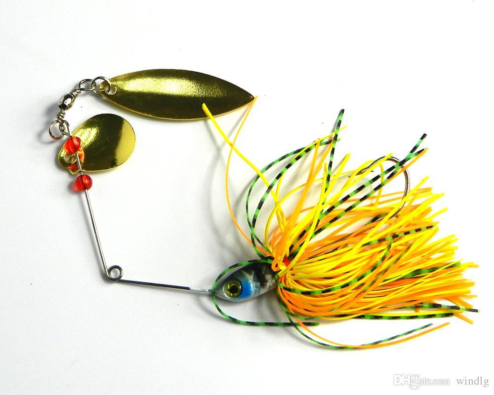 nuevo señuelo de la pesca 0,61 oz Spinner cebos Spinners Spinners dobles pieza señuelos de pesca cebos duros 17,4 g de 4 colores 20pcs SB007