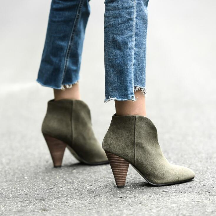 Army Green Suede Leather Cone Heel Ankle Boots Slim Fit V Shape Winter Shoes Women Suede Boots Men Boots From Shao123456789, $60.11| DHgate.Com
