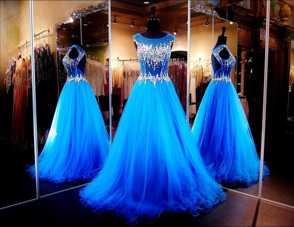 2020 Backless Evening Dresses with Cap Sleeves Illusion Neckline Keyhole A-Line Ball Gowns Blue Prom Dresses with Crystals Pageant Dress