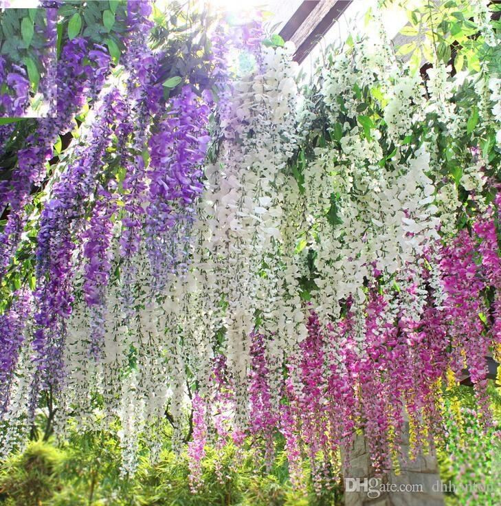 Romantic Artificial Flowers Simulation Wisteria Vine Wedding Decorations Long Plant Bouquet Room Office Garden Bridal Accessories HH00