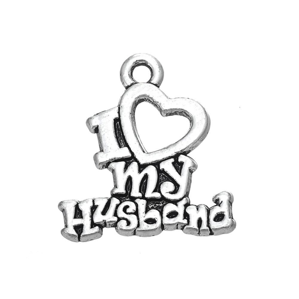 Free shipping New Fashion Easy to diy 20Pcs Romantic Message I Love My Husband Charms For Couple jewelry making fit for necklace or bracelet