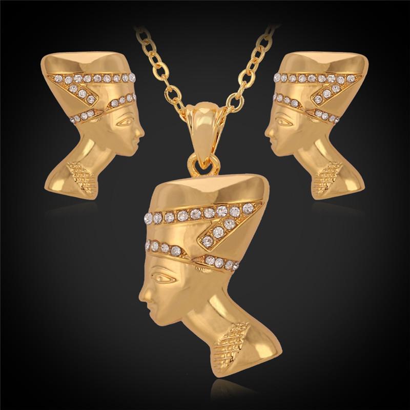 New Vintage Beleza Rainha Cabeça Pingente Brincos Gargantilha Garganta 18K banhado a ouro Austríaco Strass colares conjunto