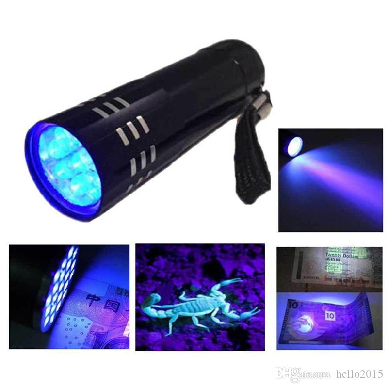 2016 Hot Sale Portable Mini Aluminum UV Flashlight Violet Light 9 LED UV Torch Light Lamp Flashlight