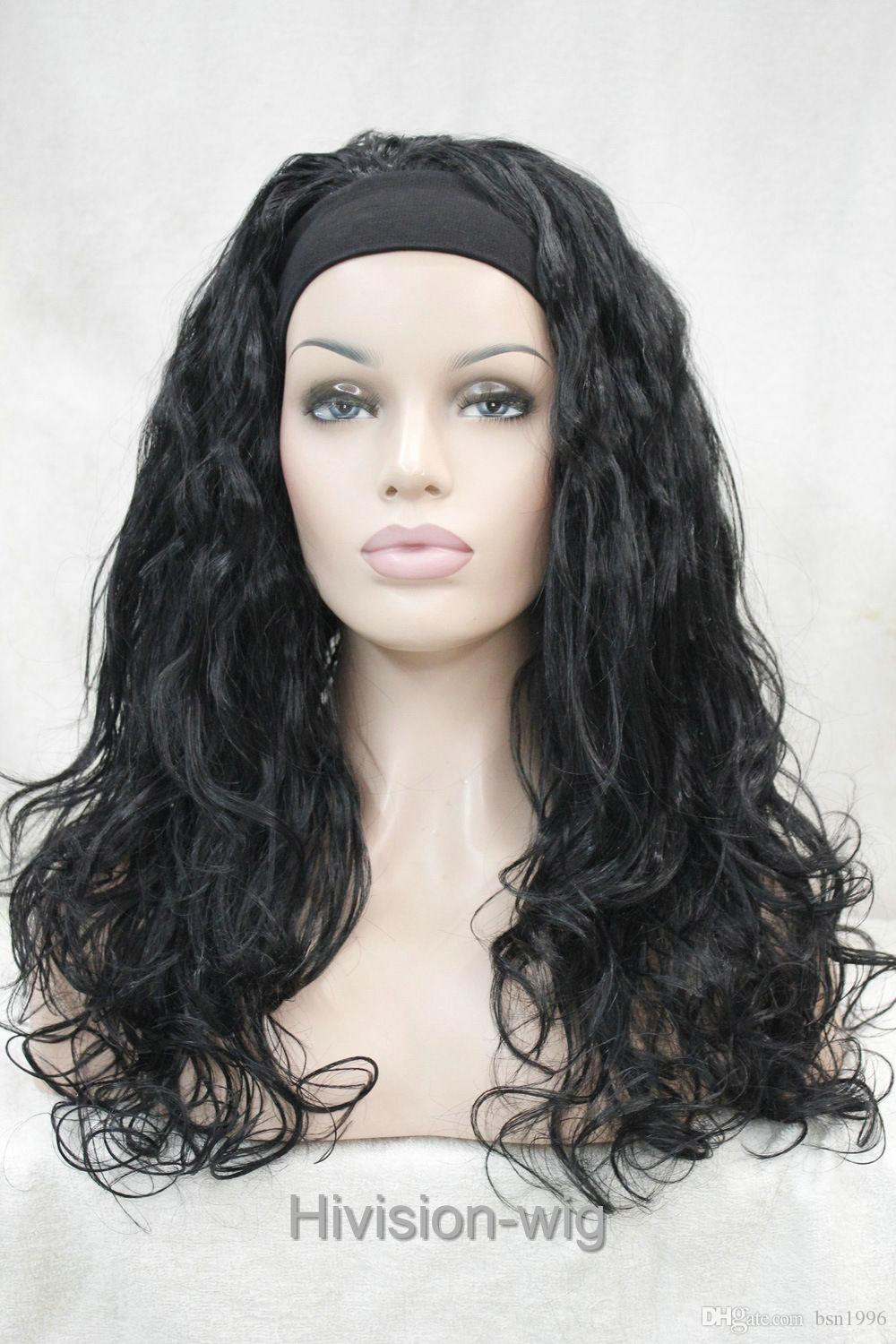 free shipping beautiful charming hot Fashion 4 colors Long Curly Wave fluffy women Daily 3/4 half wig headband Hivision