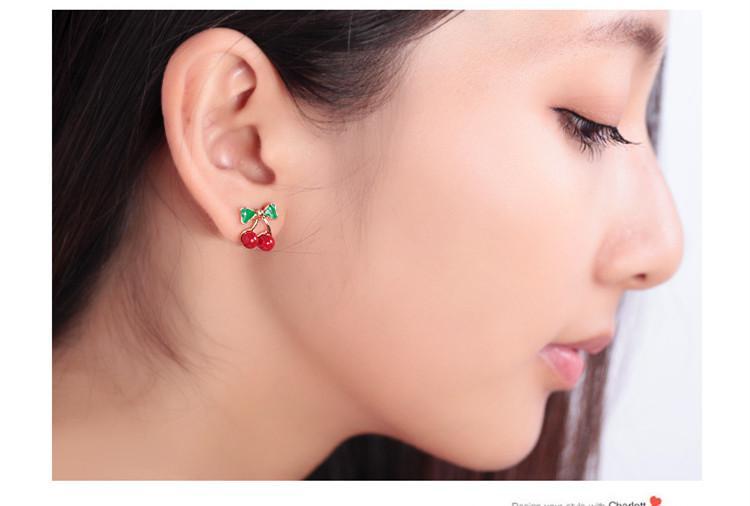 Söt Cherry Bowknot Öronpinnar Örhängen för kvinnor Lady Girls Fashion Koreansk stil Metall Smycken Accossries Gratis frakt