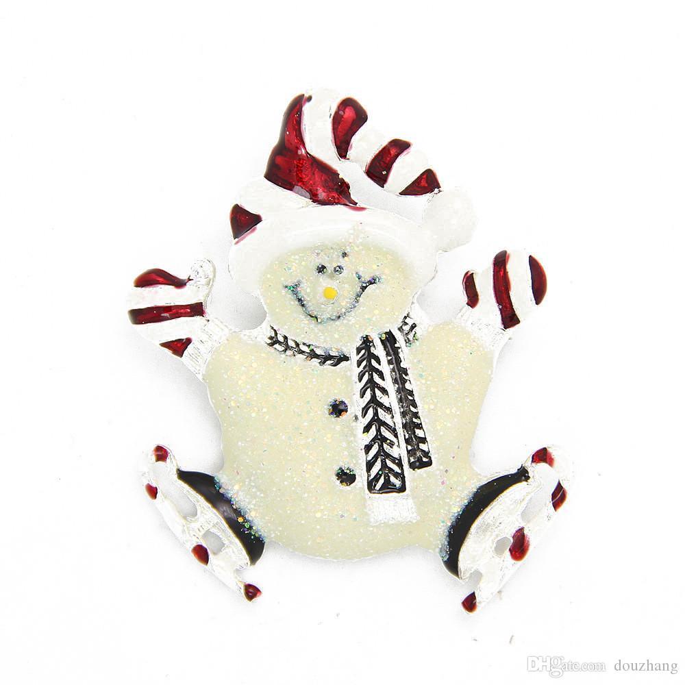 Hot Selling Personality Christmas Gifts Enamel Hat Shining Skiing Snowman Brooch Pix Xmas Jewelry Wholesale 12 Pcs