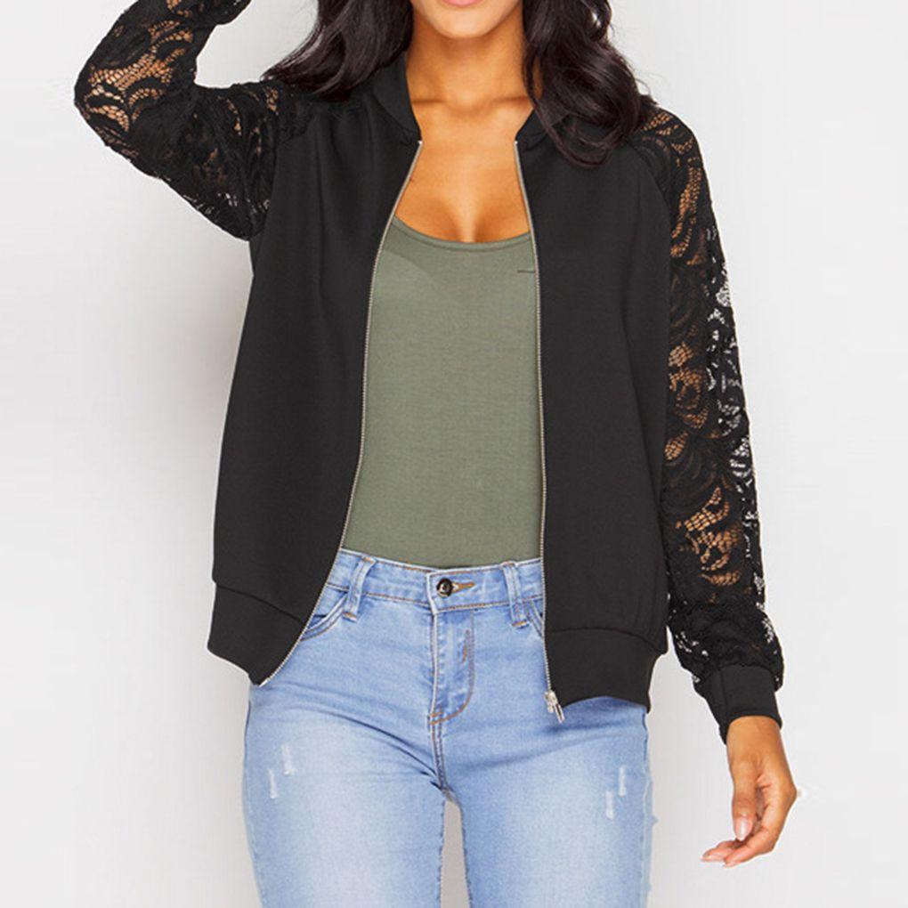 En gros, les femmes de la mode des femmes Celebrity Lace Sleeve Bomber Jacket Manteau Outwear Automne Manteau veste noir / blanc confortable