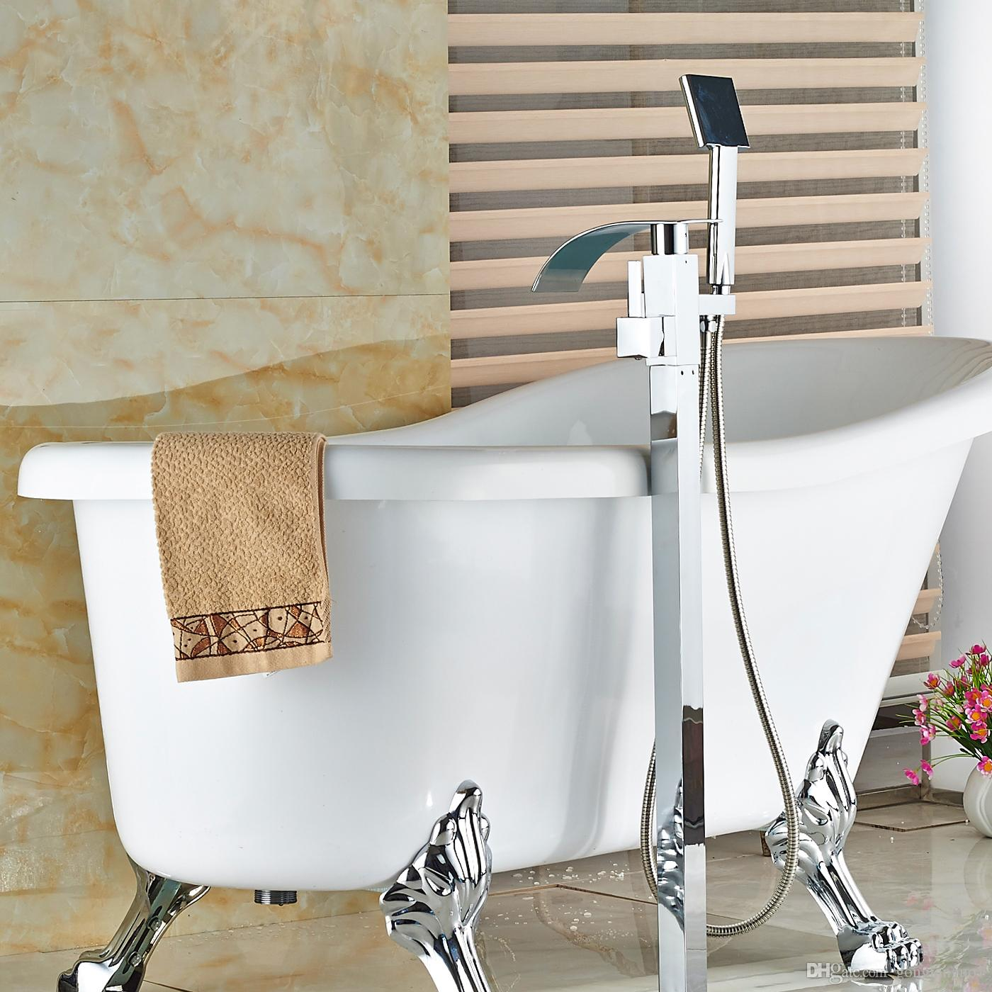 Großhandel Großhandel Und Einzelhandel Moderne Boden Montiert Badezimmer  Badewanne Wasserhahn Wasserfall Auslauf Mischbatterie Badewanne Füllstoff W  /