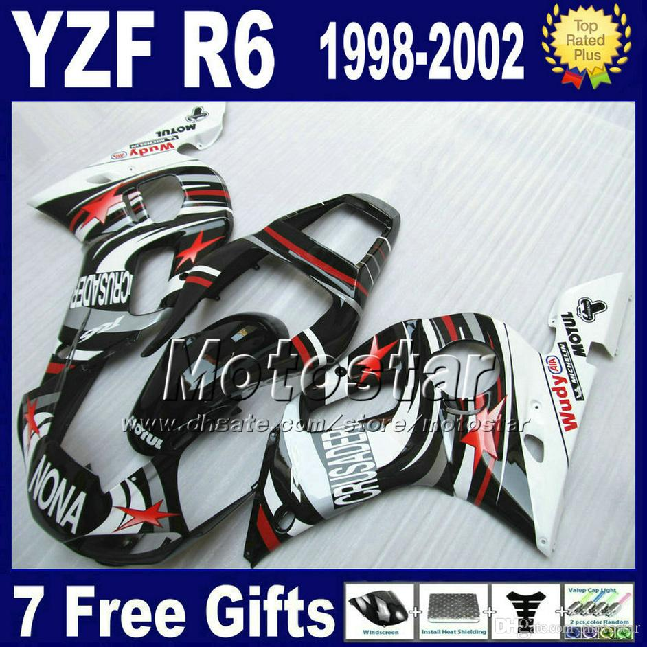 7 Darmowe prezenty + Plastikowy Zestaw dochodów do Yamaha YZF600 98-02 YZFR6 YZF-R6 1998 1999 2000 2001 2002 Białe Czarne None Careings Set VB90