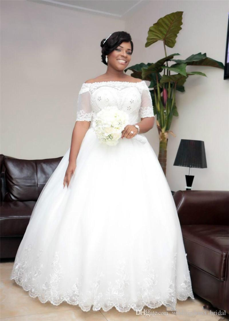 Vintage Beaded Lace Plus Size Ball Gown Wedding Dresses 2019 Illusion Short Sleeves Tulle Bridal Gowns Arabic Dubai Wedding Dress Custom Uk 2019 From