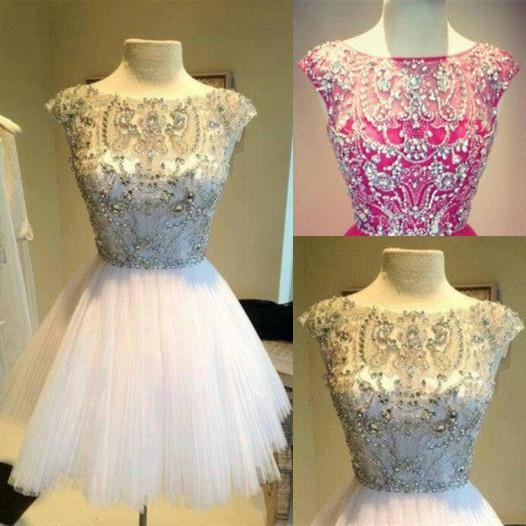 Реальный образ! Сверкающие короткие платья возвращения на родину с короткими рукавами из кристаллов бусин A-Line из тюля мини-бальные платья выпускного вечера на заказ H37