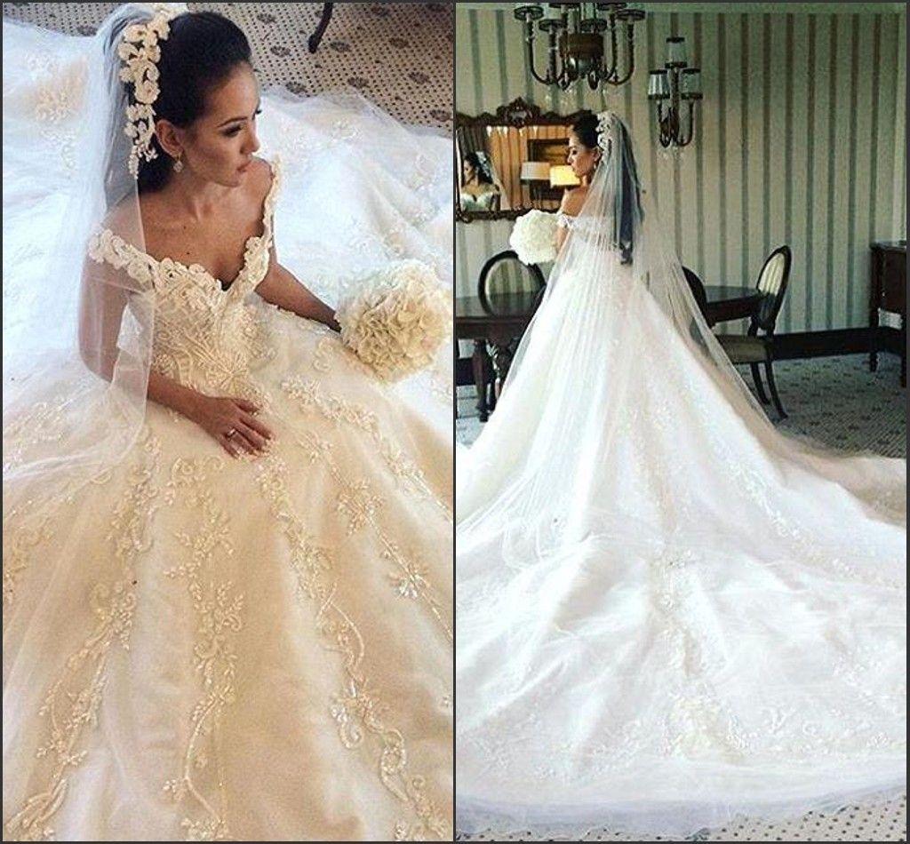 2017 prachtige kant trouwjurken v-hals met kralen een lijn backless ivoor hof trein Arabisch vestido de novia prachtige bruidsjurken