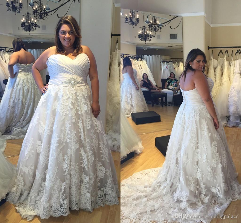 Discount 2018 Sweetheart A Line Lace Plus Size Wedding Dresses Western  Country Appliques Beaded Waist Bride Bridal Gown Robe De Mariage Wedding  Gowns ...