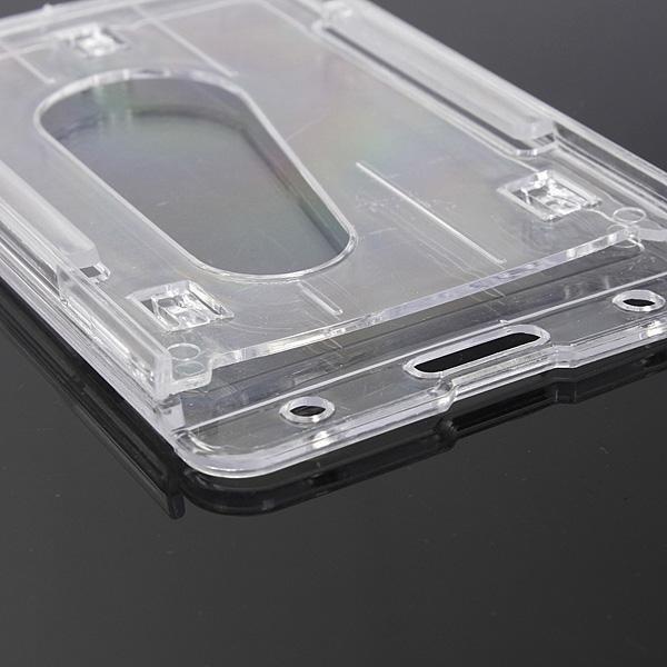 2 Pcs Vertical Transparent Hard Plastic Business Credit Card ID Badge Holder