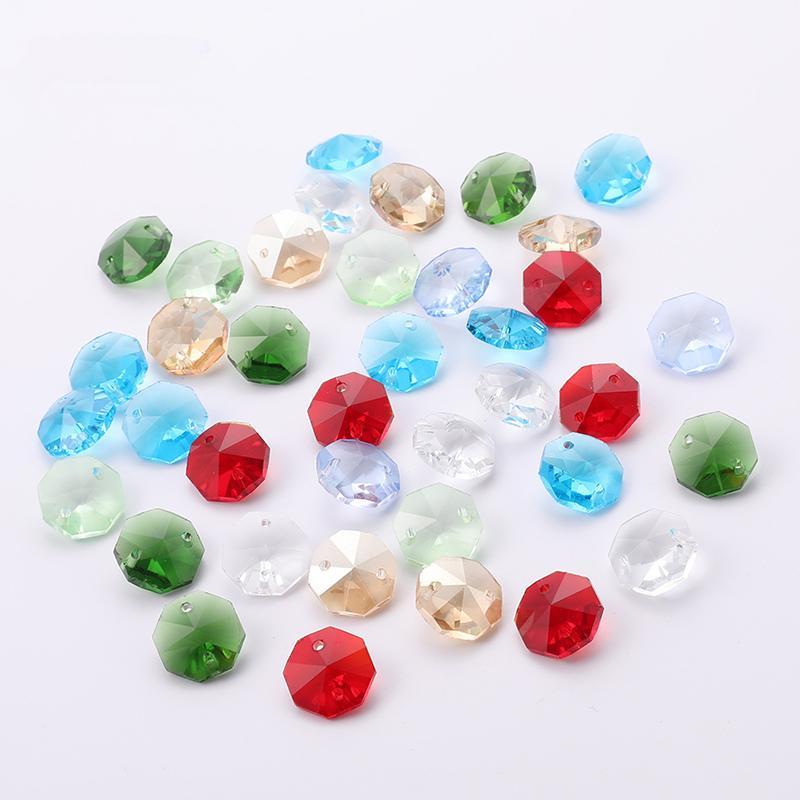 Octagon Bead Crystal Beads Bead Curtain Lighting Accesorios para el hogar 14 colores de alta calidad Crystal Glas Material