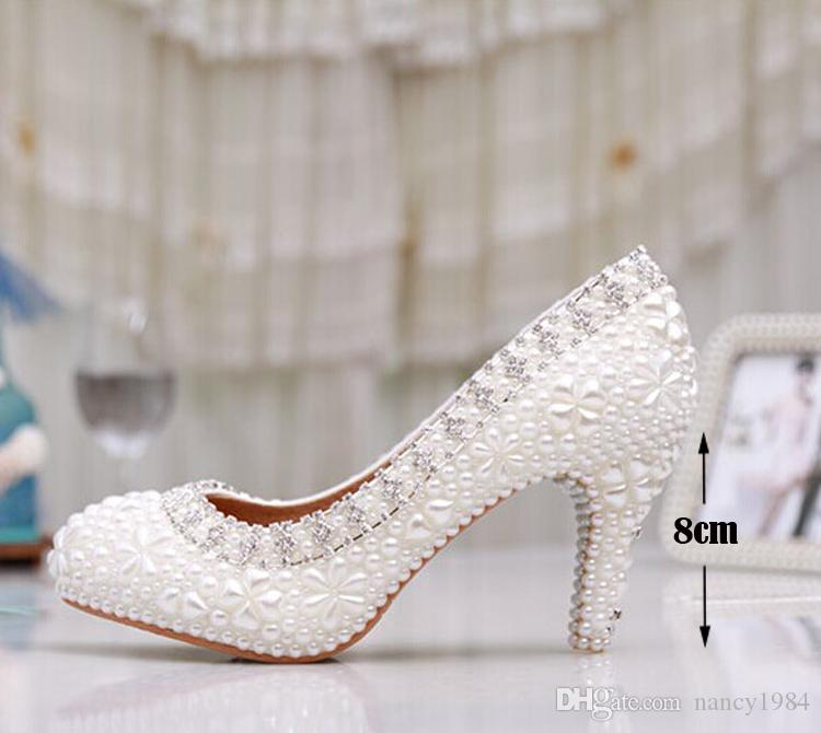 Luxury Pure White Pearl Wedding Shoes 3