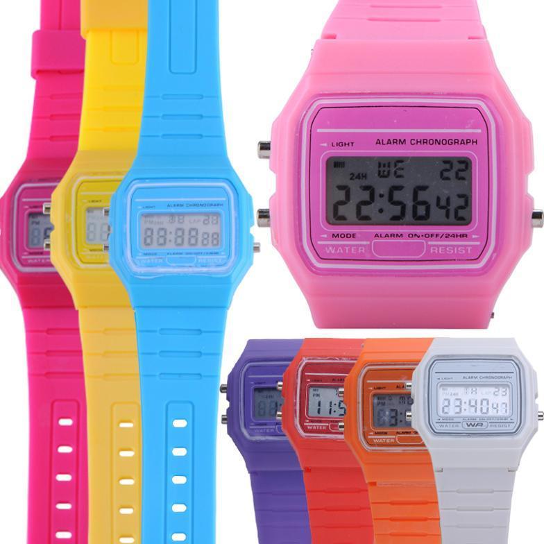Мульти конфеты цвет сигнализации секундомер мода цифровой резиновый силиконовые наручные часы девушки дамы женщины CHMH105