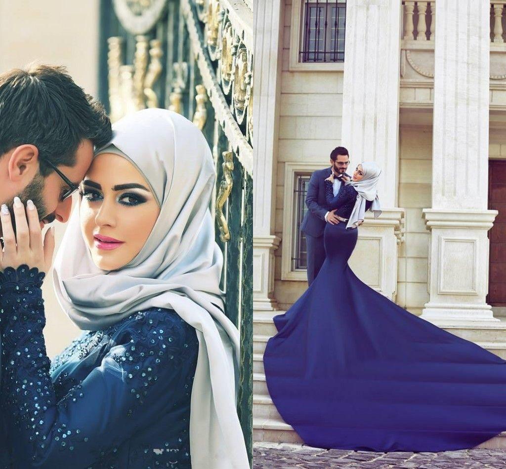 2018 Manga Longa Azul Marinho Vestidos de Noite com Applique Lace Dubai Árabe vestidos de De Festa de Alta Pescoço Sweep Trem Sereia Vestidos de Baile