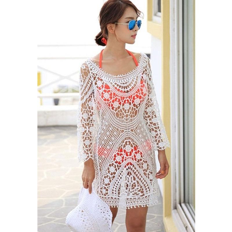 Vestidos De novia купальный костюм прикрыть богемной бикини купальник прикрыть белый вязание крючком пляжная одежда пляж платье