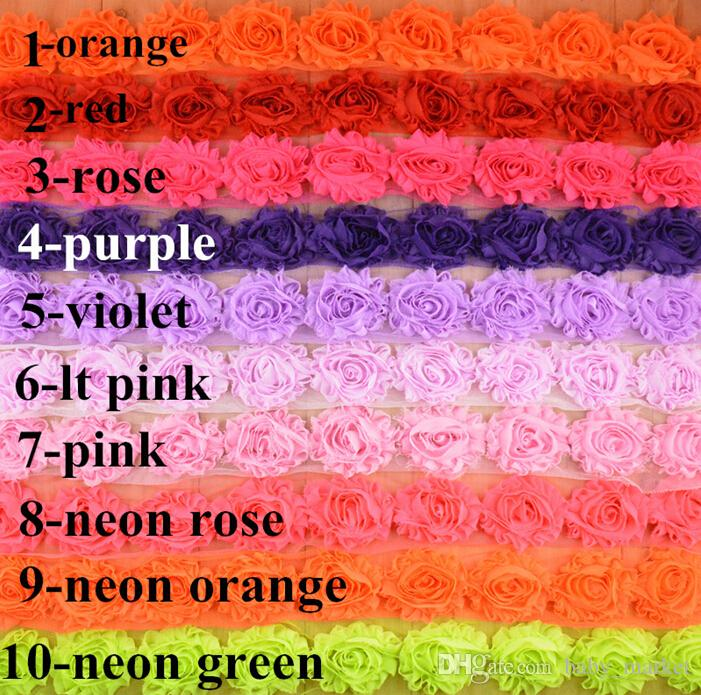 Sale BY YARDS ! 24 COLORS hair band accessories! 65MM Shabby flash chiffon roses/sunflowers /brooch /shoes flower / hat flower /60YARDS/