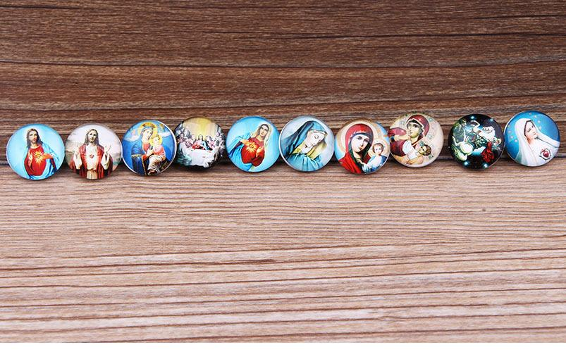 JACK88 DIY Mix Styles Snaps 30 pcs/lot Virgin Mary 18mm Snap Button Fit Ginger Snap Button Charm Bracelet Jewelry N030