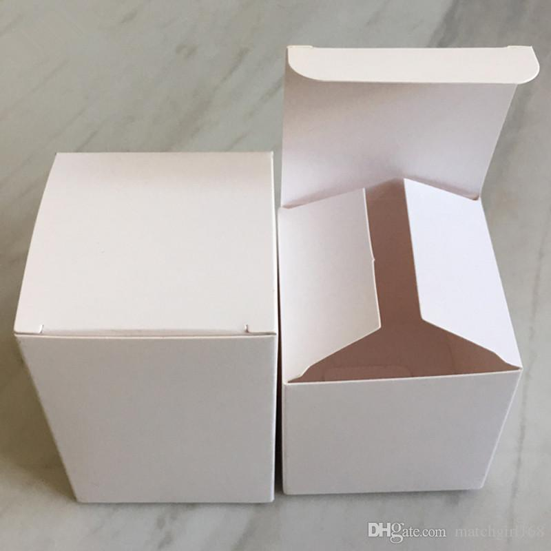 50 pcs-8 * 8 * 4/5/6/7/8/9/10/11/12/13 cm 350gsm Caixa de Embalagem de Papel Branco Sabonetes Artesanais Cosméticos caixas de armazenamento de válvulas de tubos